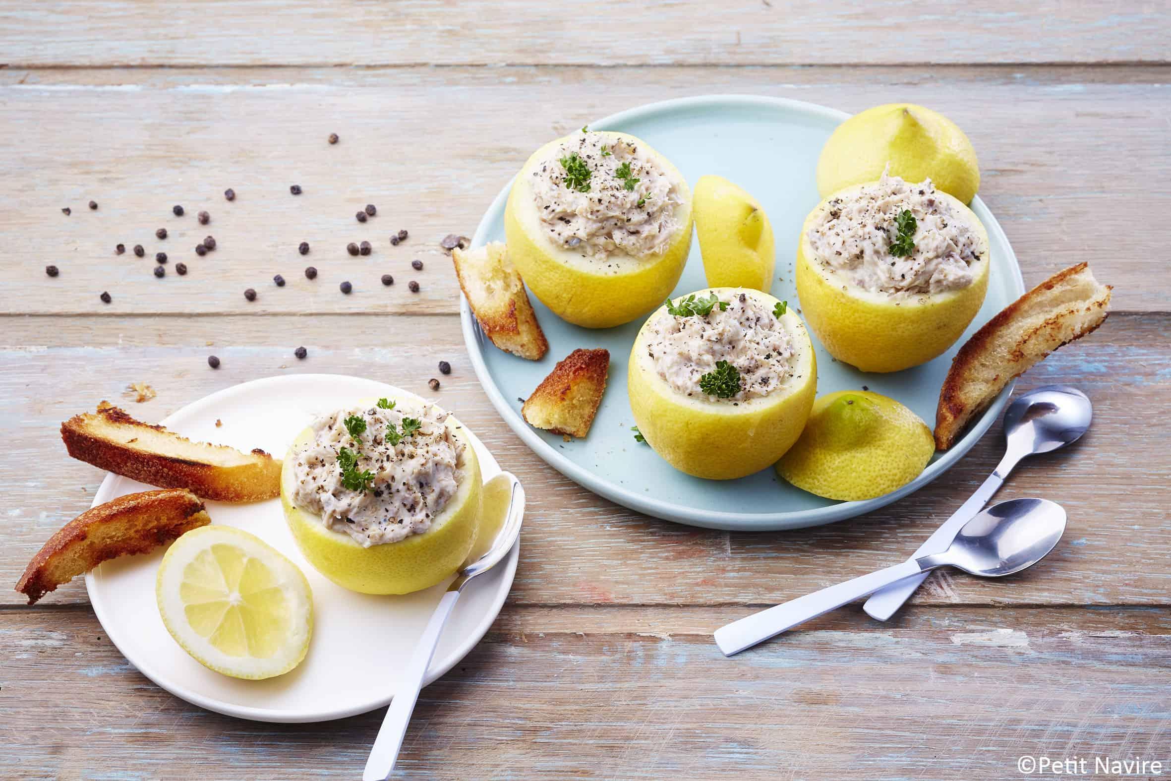 Citrons confits farcis à la mascarpone et émietté de maquereaux - Petit Navire