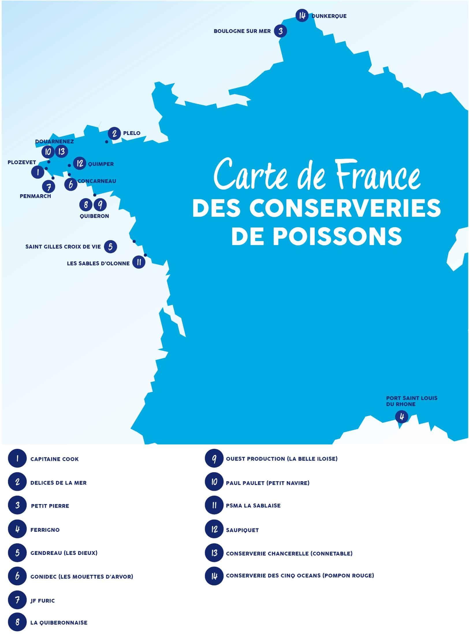 Carte de France des conserveries de poissons